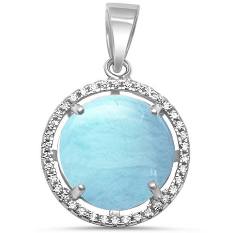Natural Larimar & Cubic Zirconia .925 Sterling Silver Pendant