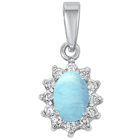 Natural Larimar & Cubic Zirconia Oval .925 Sterling Silver Pendant