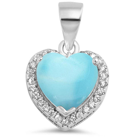 Natural Larimar Heart with CZ .925 Sterling Silver Pendant