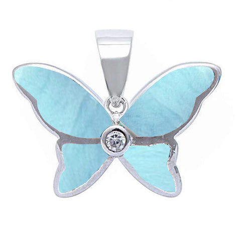 Natural Larimar Butterfly .925 Sterling Silver Pendant