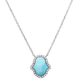 "Natural Larimar Hand of Hamsa .925 Sterling Silver Pendant Necklace 16""+1"" Ext."