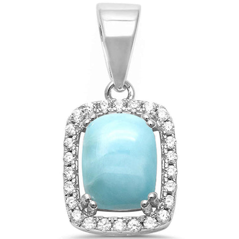 Radiant Shape Natural Larimar & Cubic Zirconia .925 Sterling Silver Pendant