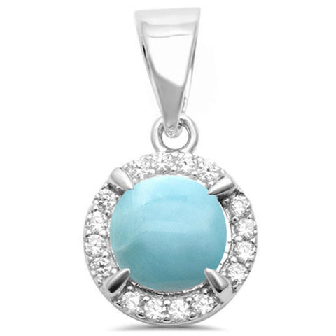Round Natural Larimar & Cubic Zirconia .925 Sterling Silver Pendant