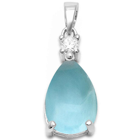 Pear Shape Natural Larimar & Cubic Zirconia .925 Sterling Silver Pendant