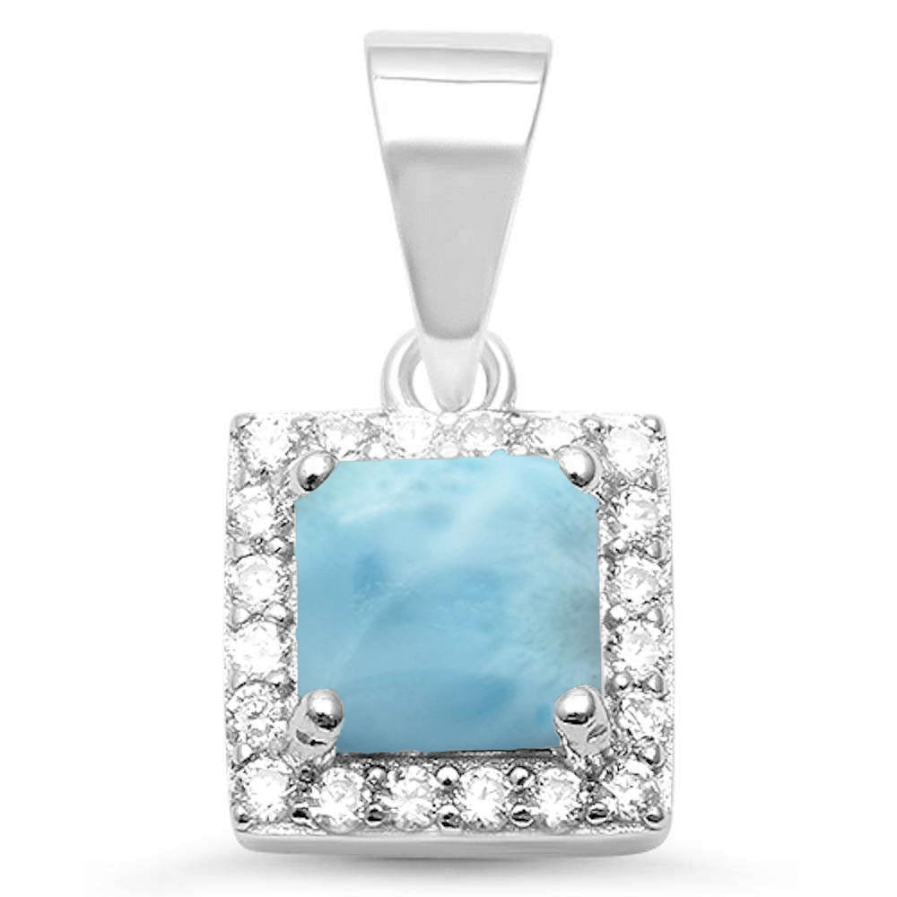 Square Natural Larimar & Cubic Zirconia .925 Sterling Silver Pendant