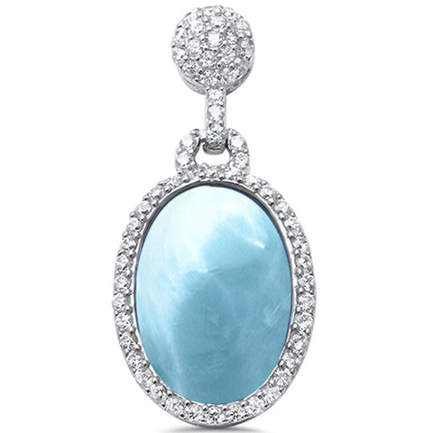 Unique! Natural Larimar  & Cz drop Dangle .925 Sterling Silver Pendant