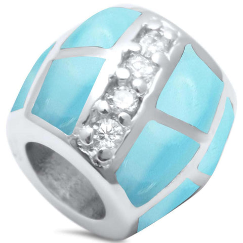 Trendy! Larimar Cubic Zirconia Slide Charm .925 Sterling Silver Pendant