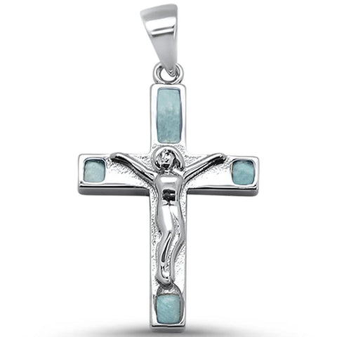 "Cross Natural Larimar .925 Sterling Silver Pendant 1"" Long"