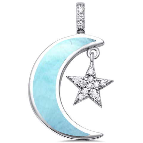 Natural Larimar Crescent Moon Star Cubic Zirconia .925 Sterling Silver Pendant