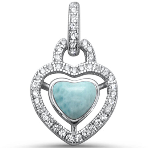 Elegant Halo Style Natural Larimar Heart .925 Sterling Silver Charm Pendant