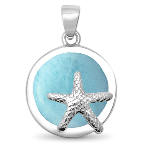 Natural Larimar Round Starfish .925 Sterling Silver Pendant