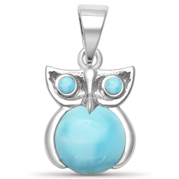 Natural Larimar Whimsical Owl .925 Sterling Silver Pendant