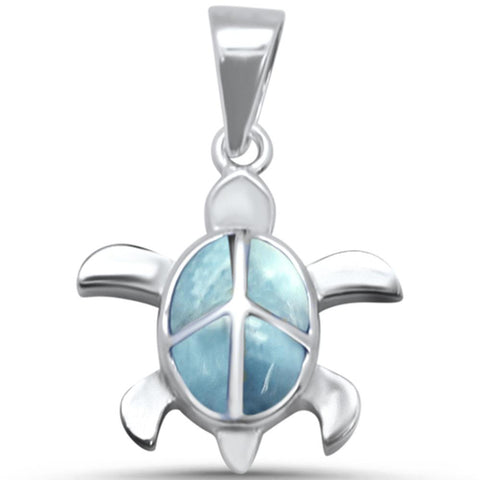 Turtle Natural Larimar .925 Sterling Silver Pendant