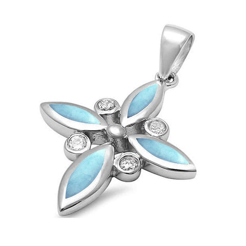 Lab Created Larimar & Cz Cross .925 Sterling Silver Pendant