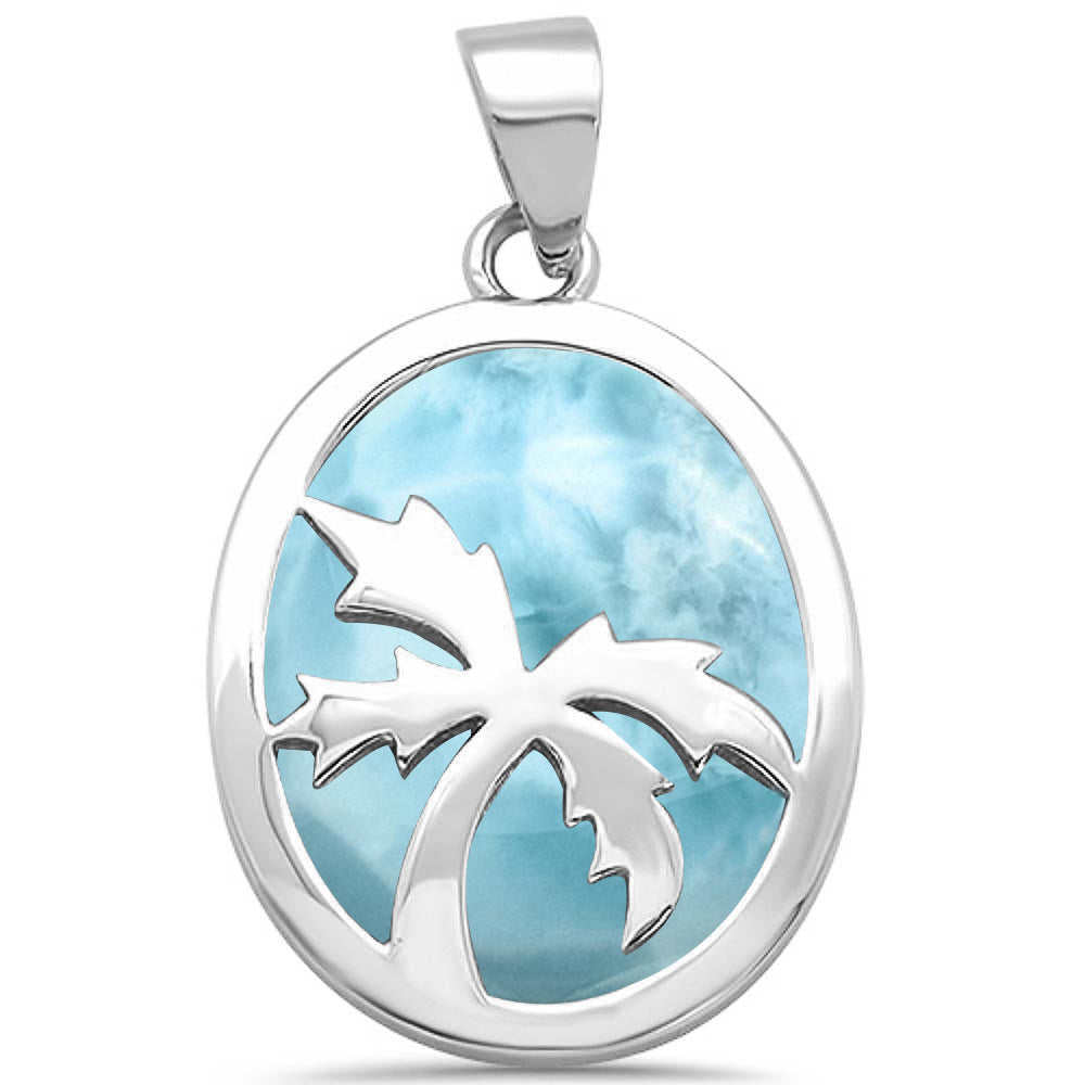 Solid Natural Larimar with Palm Tree Design .925 Sterling Silver Pendant