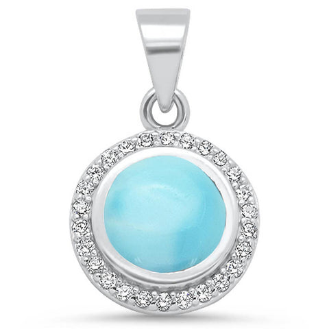 Round Natural Larimar & Cz .925 Sterling Silver Pendant