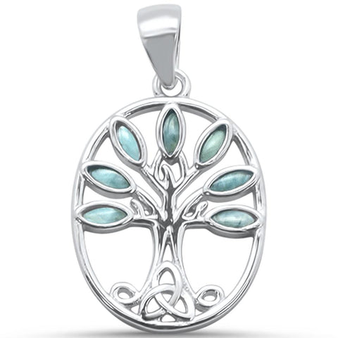 Larimar Tree of Life Family Tree .925 Sterling Silver Charm Pendant