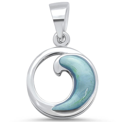 Natural Larimar Wave Deisgn .925 Sterling Silver Pendant