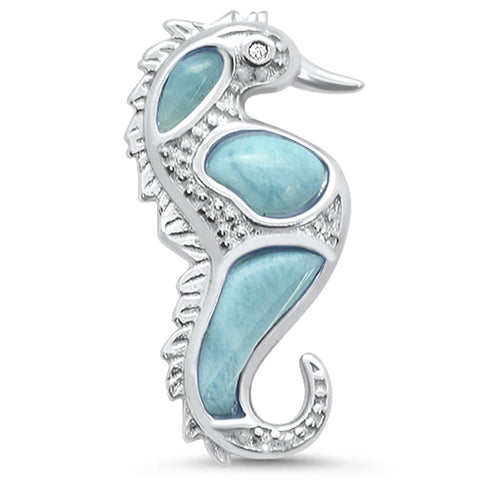 Natural Larimar Seahorse .925 Sterling Silver Pendant
