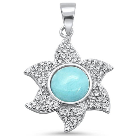 Cute! Natural Larimar Sun Ocean Surf .925 Sterling Silver Pendant