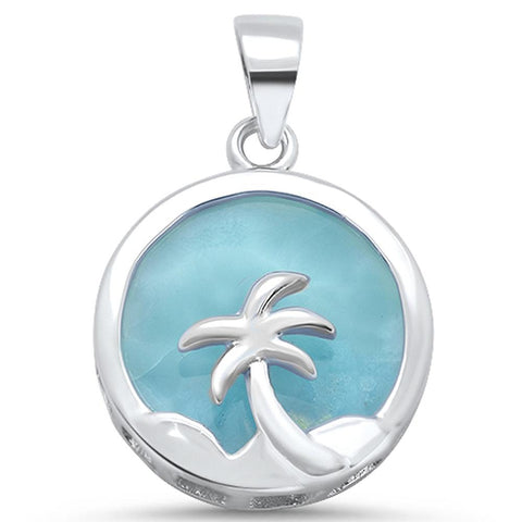 Natural Round Larimar with Palm Tree Design .925 Sterling Silver Pendant