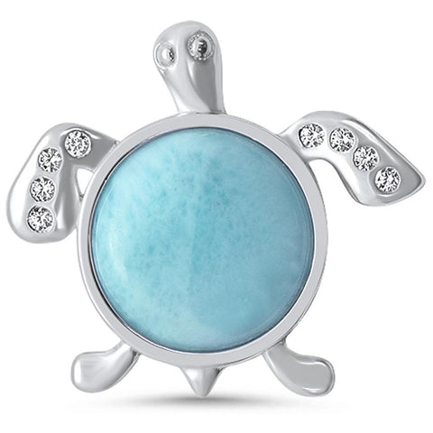 Natural Round Larimar & Cz Turtle Design .925 Sterling Silver Pendant