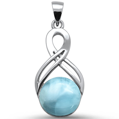 Round Natural Larimar Infinity .925 Sterling Silver Pendant