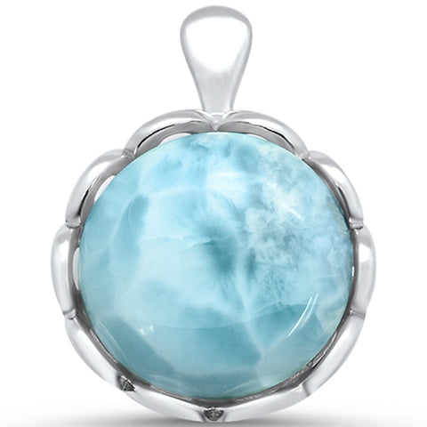 Natural Larimar ROund .925 Sterling Silver Pendant