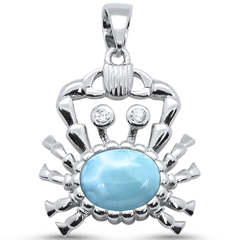 Natural Larimar Crab .925 Sterling Silver Pendant