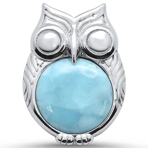 Natural Larimar Owl Design .925 Sterling Silver Pendant