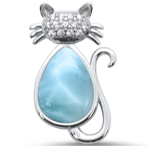 Natural Larimar & Cz Cat .925 Sterling Silver Pendant