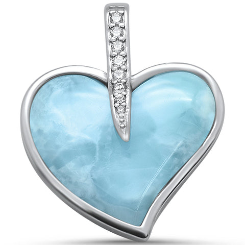 Natural Larimar & Cz Heart .925 Sterling Silver Pendant