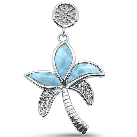 Natural Larimar Palm  Tree .925 Sterling Silver Pendant