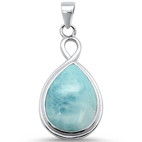 Pear Natural Larimar .925 Sterling Silver Pendant