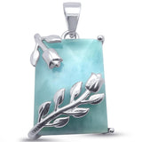 "Square Leaf Natural Larimar .925 Sterling Silver Pendant 1""  Long"