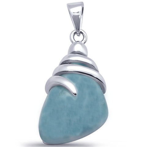 Unique Large Natural Larimar .925 Sterling Silver Pendant