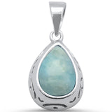 Pear Natural Larimar Teardrop Halo .925 Sterling Silver Pendant