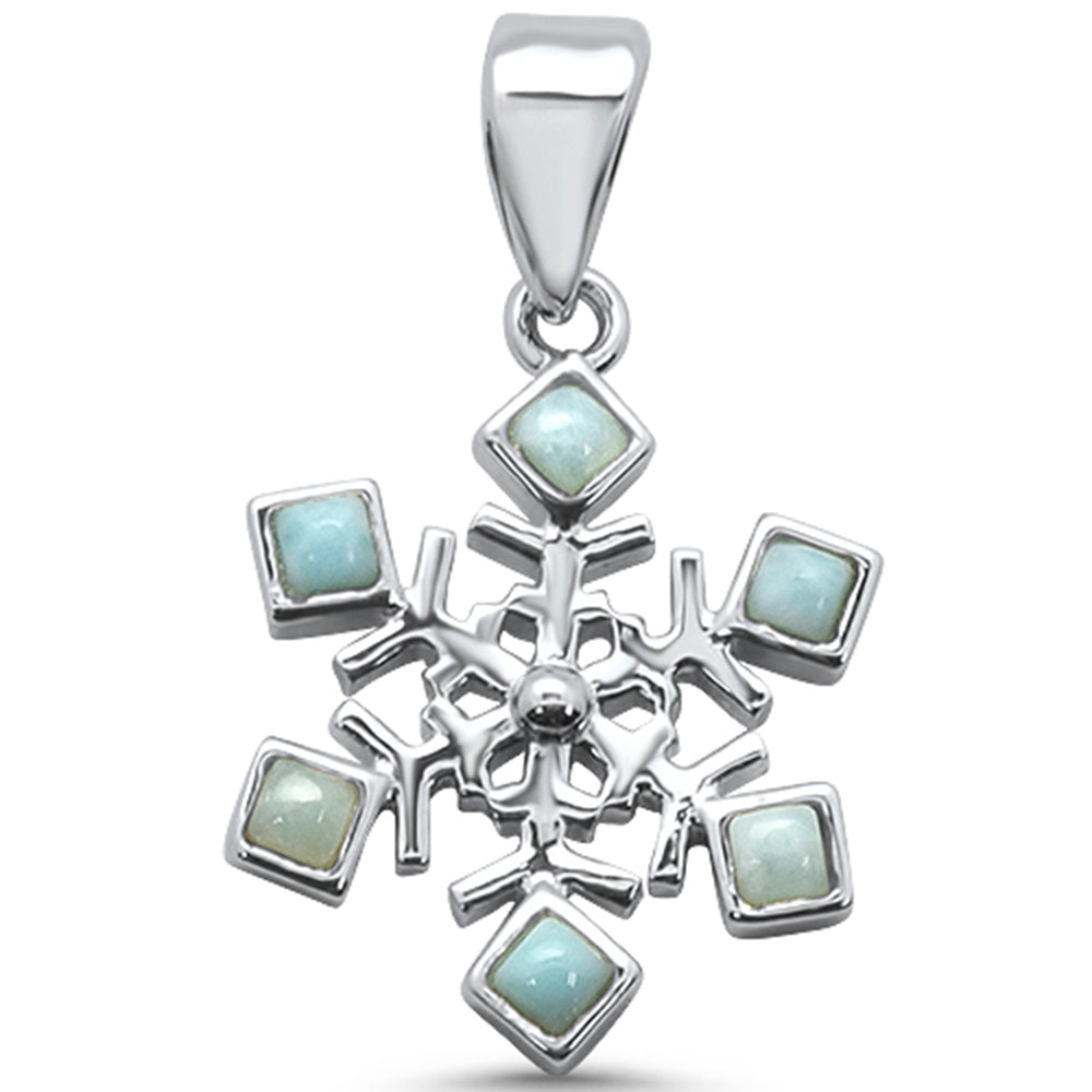 Natural Larimar .925 Sterling Silver Charm Pendant