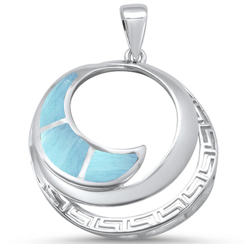 Natural Larimar Ocean Wave Design .925 Sterling Silver Pendant