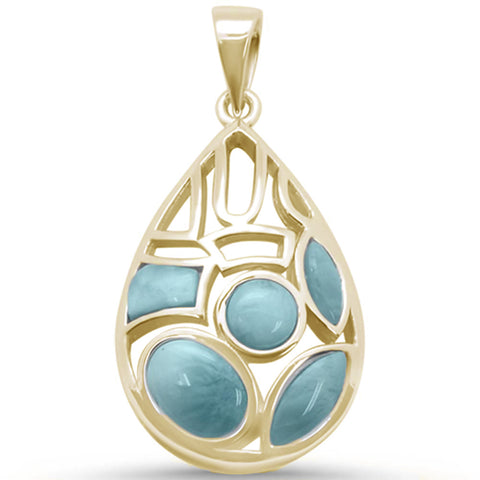 New Natural Larimar .925 Sterling Silver Pendant