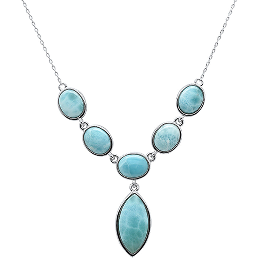"Natural Larimar  .925 Sterling Silver Pendant Necklace 16""+1"" Long"