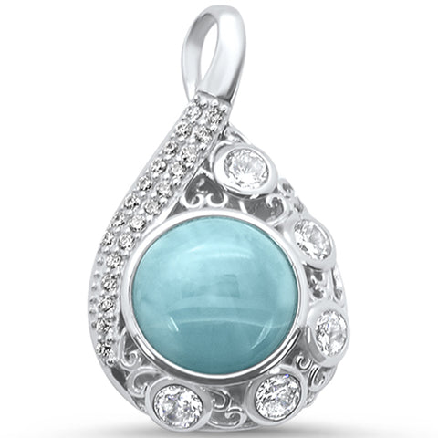Natural Larimar & CZ Pear Drop Statement .925 Sterling Silver Pendant