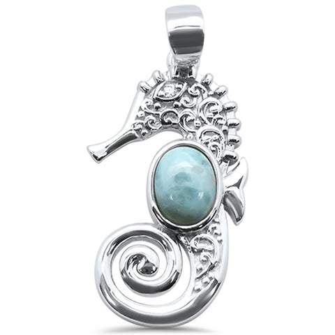 Natural Larimar Sea Horse .925 Sterling Silver Charm Pendant