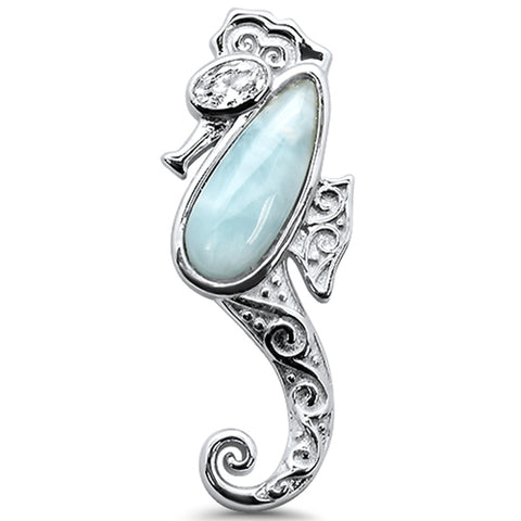 Natural Larimar Seahorse .925 Sterling Silver Charm Pendant