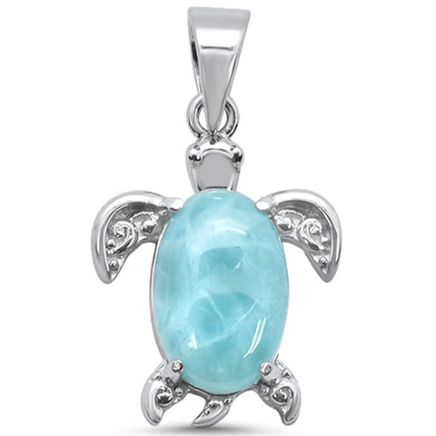 Natural Larimar Turtle .925 Sterling Silver Charm Pendant
