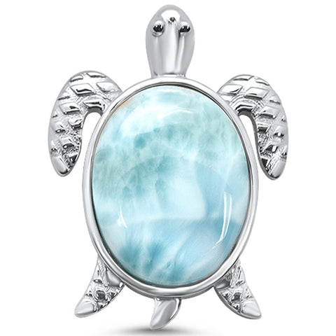 Natural Larimar Turtle Oval .925 Sterling Silver Charm Pendant