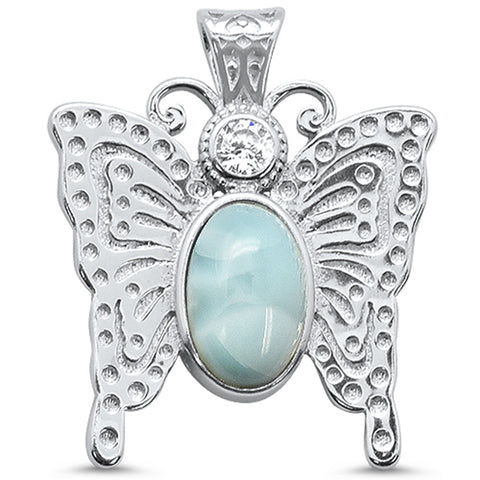 Natural Larimar Butterfly .925 Sterling Silver Charm Pendant