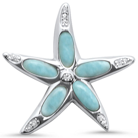 Natural Larimar & Cubic Zirconia Star Fish .925 Sterling Silver Pendant