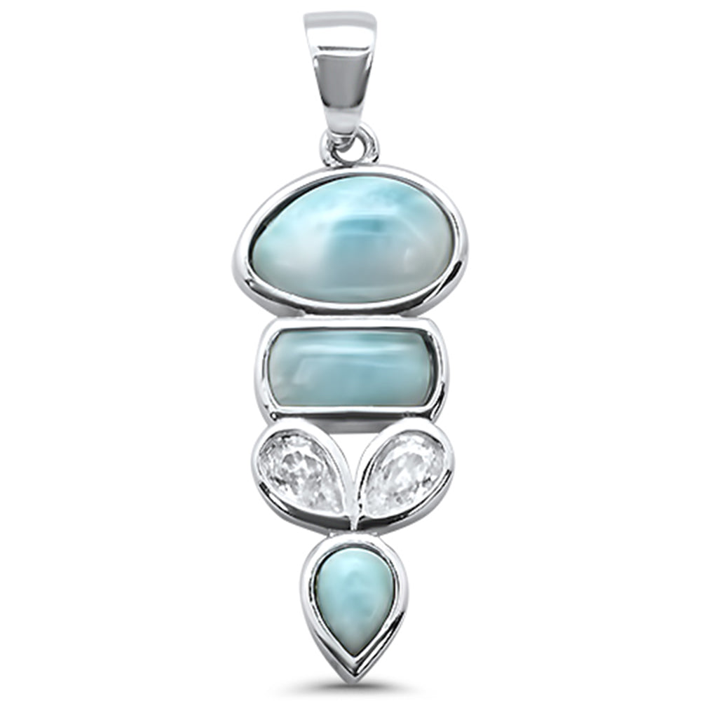 Multy Shape Natural Larimar & Cz  .925 Sterling Silver Charm Pendant