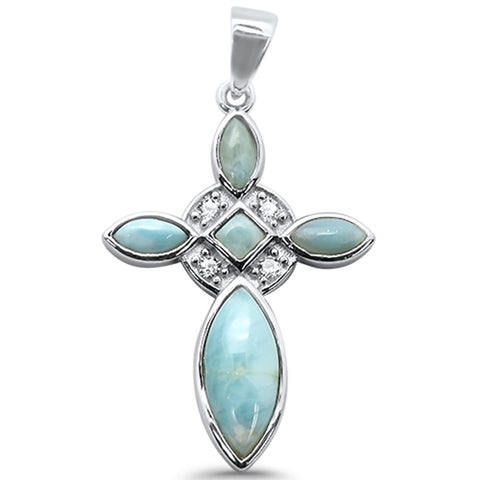 Natural Larimar Cross & Cz .925 Sterling Silver Charm Pendant